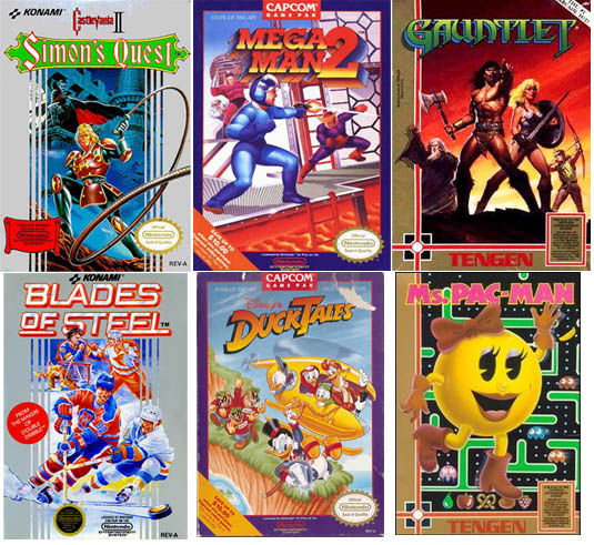 NES game boxes